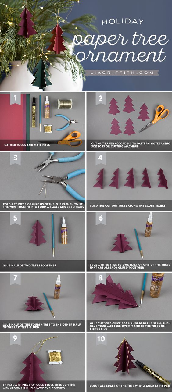 3D Paper Tree Ornaments - Lia Griffith - www.liagriffith.com #diyinspiration #diychristmas #diyholiday #diyholidays #paper #papercraft #madewithlia