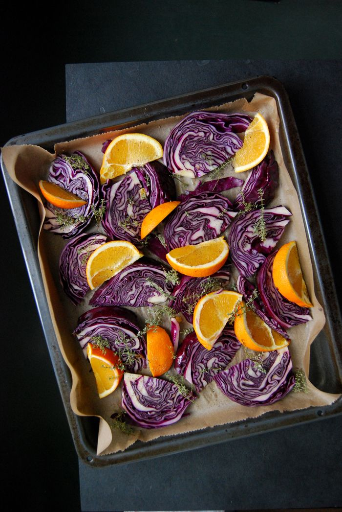 Roasted Red Cabbage and Orange Wedges with Maple Syrup and Thyme ° eat in my kitchen