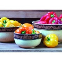 "The leather like glaze on our Western Belt Nesting Bowls create beautiful rustic tones. Great for serving, cooking, or storing. Use as a stand-alone piece of decor or as a functional part of your everyday duties. 3-Bowl Set. Sizes: 8"" (1-3/4 quart), 10"" (3-1/2 quart), and 12""(6 quart). Base color is buttercream speckled with caramel. Cowboy Living Original. http://www.cowboyliving.com/cooking-tools/mixing-bowls-measuring-cups/western-belt-nesting-bowls.html"