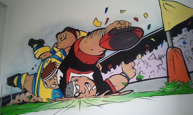 Décoration graffiti rugby de la chambre de théo, 5ans. C'est un dessin de sa bd préféré qui a été réalisé sur le mur de sa chambre. #décoration #graffiti #toulouse