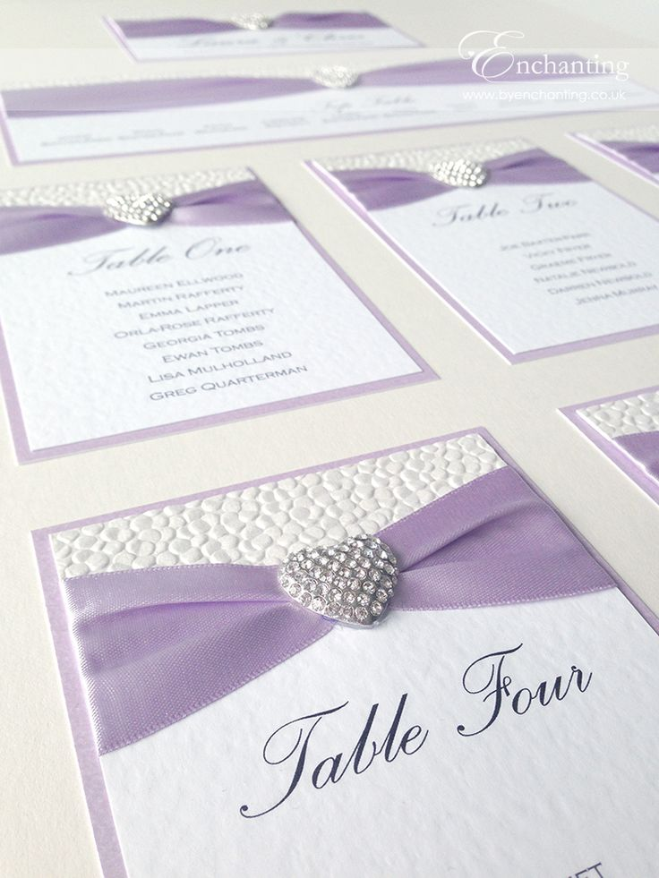 Lilac Wedding Stationery | The Ariel Collection - Mounted Table Plan / Seating Chart | Featuring white pebble paper, purple lilac ribbon and diamaté heart embellishment | Luxury handmade wedding invitations and stationery #byenchanting