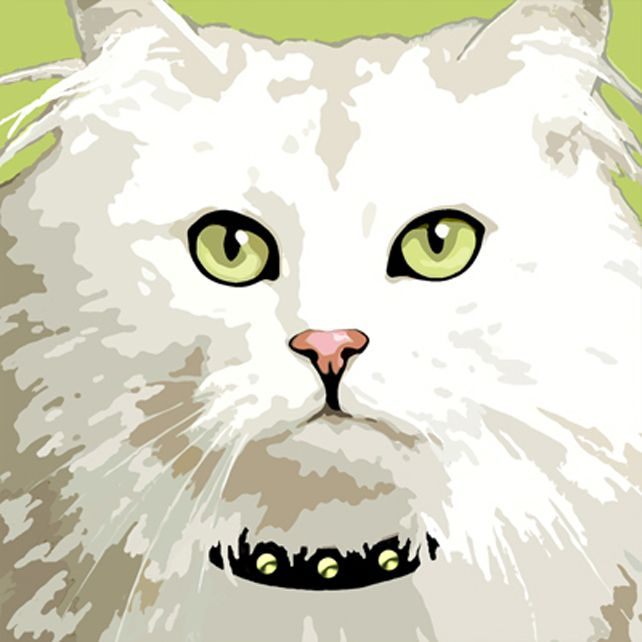 White long-haired cat greeting card £2.50 #folksyfriday
