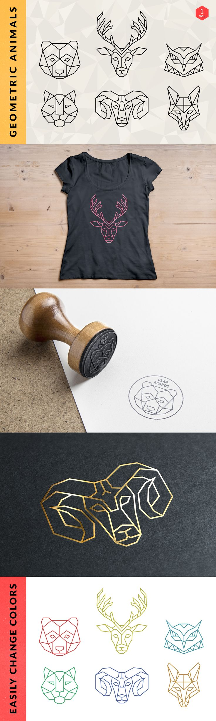 Geometric Animal Logos by Adrian Pelletier.