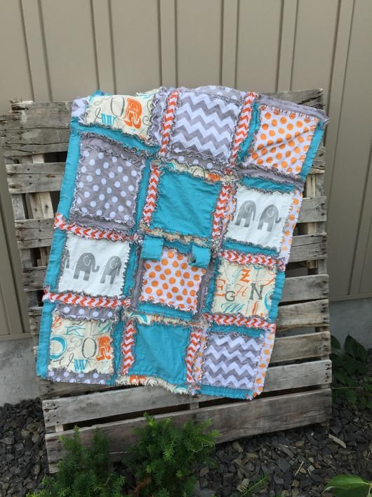 Elephant Crib Set - Blue, Orange, Gray - Baby Boy Crib Bedding - Crib Bedding - A Vision to Remember