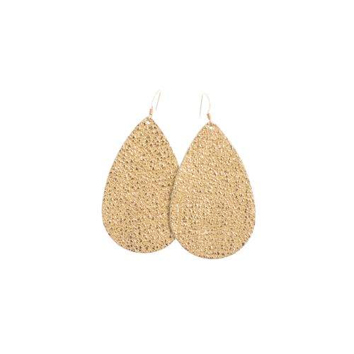 Sure to be our newmost popular seller, these gold leather earrings are the  perfect gold earrings. The leather texture and metallic gold finish look  like metal, but feel like leather.  Leather earrings are lightweight, flexible and offered in a variety of  colors and finishes which makes them unexpectedly perfect for women who  want to be comfortable and stylish.These metallic gold leather teardrop  earrings are the perfect statement making shape and size for all face  shapes and ...
