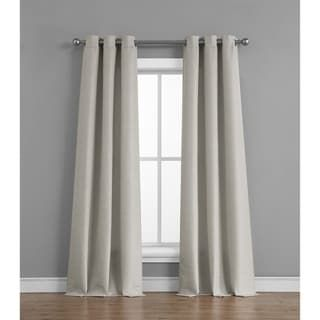 Tribeca Home Raw Faux Silk Grommet Curtain Panel Pair (Light grey), Gray(Polyester, Solid)