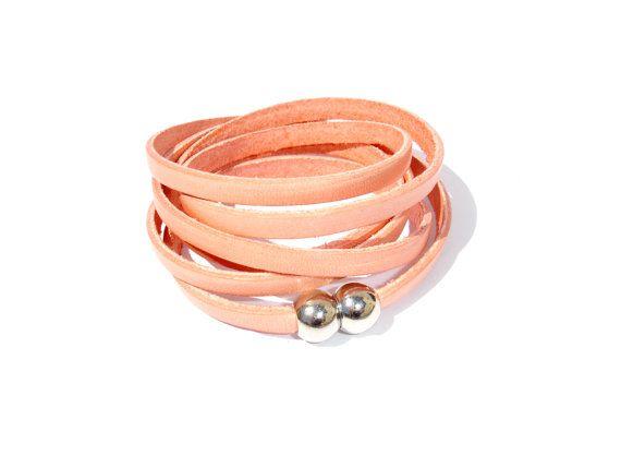 Beautiful Salmon Leather Bracelet or Necklace // by ScrapCati, €18.00