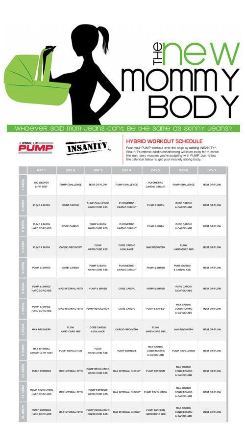 New Mommy Body Les Mills Pump and Shaun T Insanity Beachbody Hybrid Workout Calendar