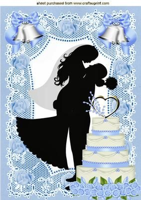 SWEPT ME OFF MY FEET BLUE WEDDING SILHOUETTE A4 on Craftsuprint designed by Nick Bowley -  SWEPT ME OFF MY FEET! BLUE WEDDING SILHOUETTE ON LACE A4, Makes a pretty wedding card, lots of other designs to see.. cup544709_415 matching insert, also plain lace ones  - Now available for download!