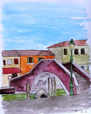 Meget fine akvareller m.m. fra malerejsen 2016 til Murano, en by tæt på Venedig