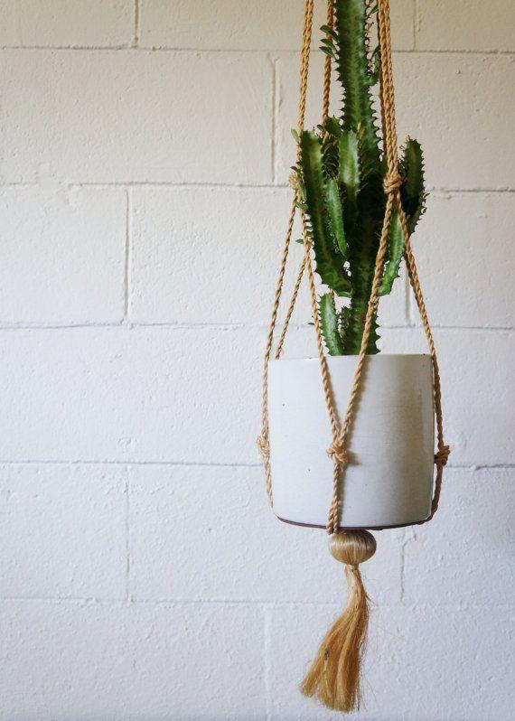 Vintage Macrame Hanging Plant Holder by sesameandsparrow