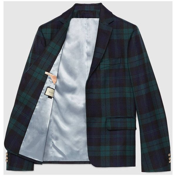 Gucci Cambridge Wool Tartan Jacket ($2,200) ❤ liked on Polyvore featuring men's fashion, men's clothing, men's outerwear, men's jackets, mens plaid wool jacket, mens wool outerwear, mens plaid jacket, mens wool jacket and gucci mens jacket