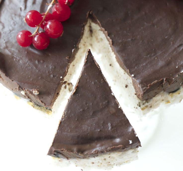Kaken som knapt inneholder kalorier: Skumbollekake Skumbollekake Ingredienser til kake i 18 cm form, 69 kcal for 1/12 4 eggehviter 1-2 dl sukrinmelis 6 plater gelatin 1/2-1 dl vann vaniljepulver (kan sløyfes) Glasur: 100 g mørk sjokolade, mer enn 70% 2 eggeplommer 1-2 ss kokosmelk (den harde delen)