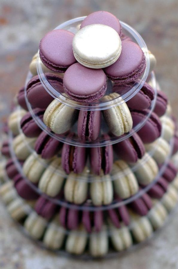 macaron tower in purple & white..