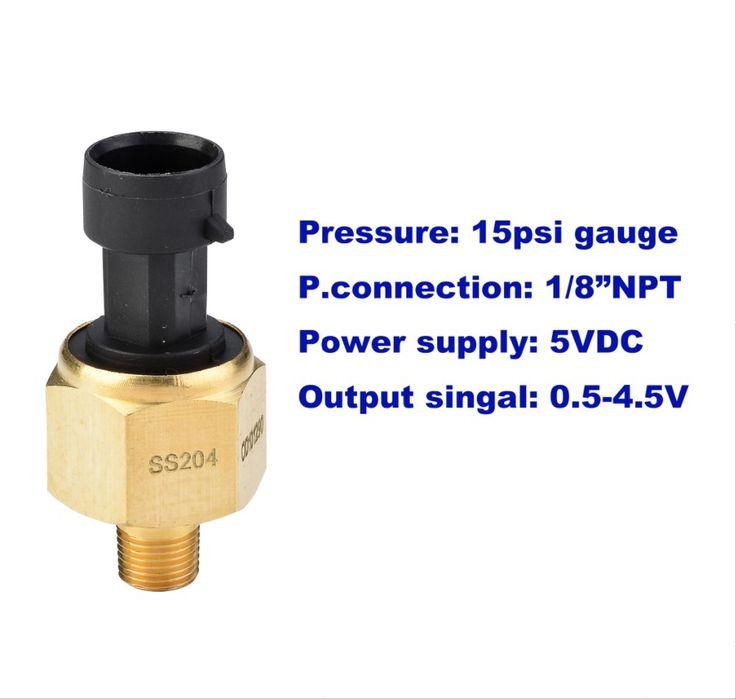 "15psi(g)/1bar/100kpa gauge, oil pressure sensor, 5VDC supply, 0.5-4.5V output, stainless steel 316L diaphragm, 1/8""NPT, low cost #Affiliate"