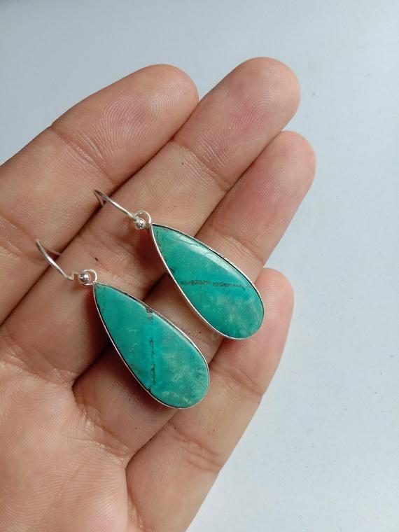 4789ddbc7 Natural Turquoise Earrings, 925 Silver Earrings, December Birthstone, Tibetan  Turquoise, Elegant Earring
