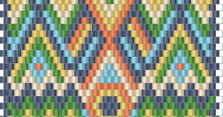 Схема яркого кулона из бисера - мозаичное плетение