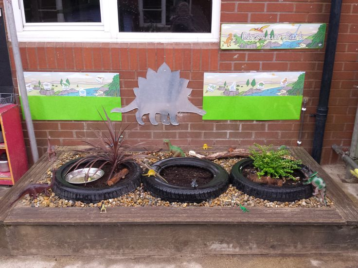 An outside dinosaur area made in a sand tray. I used three tyres, two with plants in and one where I put fast growing grass seed in. The area outside of the tyres were covered in 20mm gravel and then logs placed at the back. The printed resources were all from Twinkl.