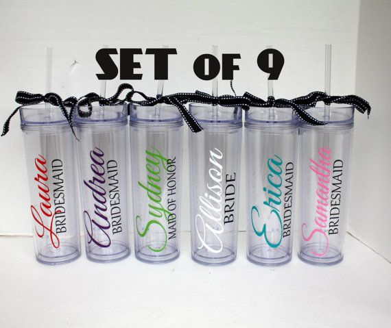 Set of 9 Personalized Tall Acrylic Tumbler - Bridesmaid, Wedding party, Bridal Shower, Bachelorette