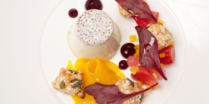 This savoury panna cotta recipe from Nigel Mendham is flavoured with premium mustard and served with goat's cheese and beetroot