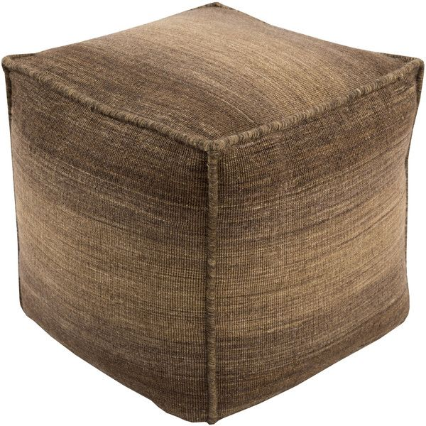 Chaz Pouf in Brown design by Surya ($281) ❤ liked on Polyvore featuring home, furniture, ottomans, colored ottomans, woven furniture, surya, colored furniture and brown ottoman