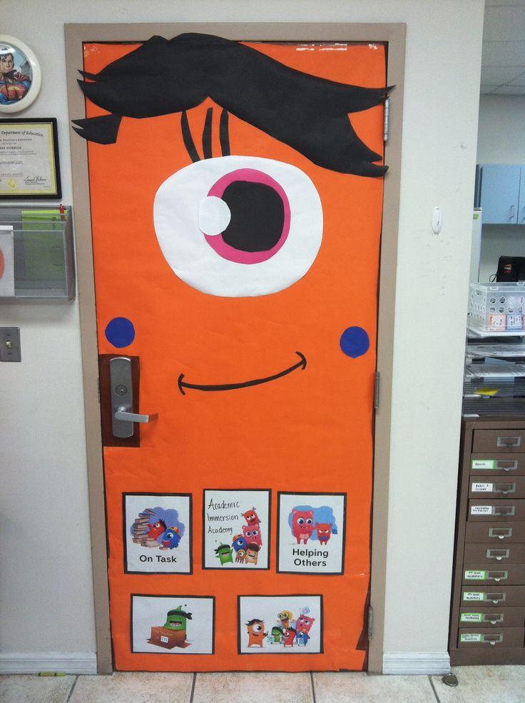 Class dojo orange teacher monster classroom door decoration