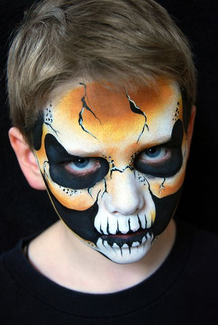 great skull boy design facepaint skull face painting ideas for kids - Halloween Skull Face Paint Ideas