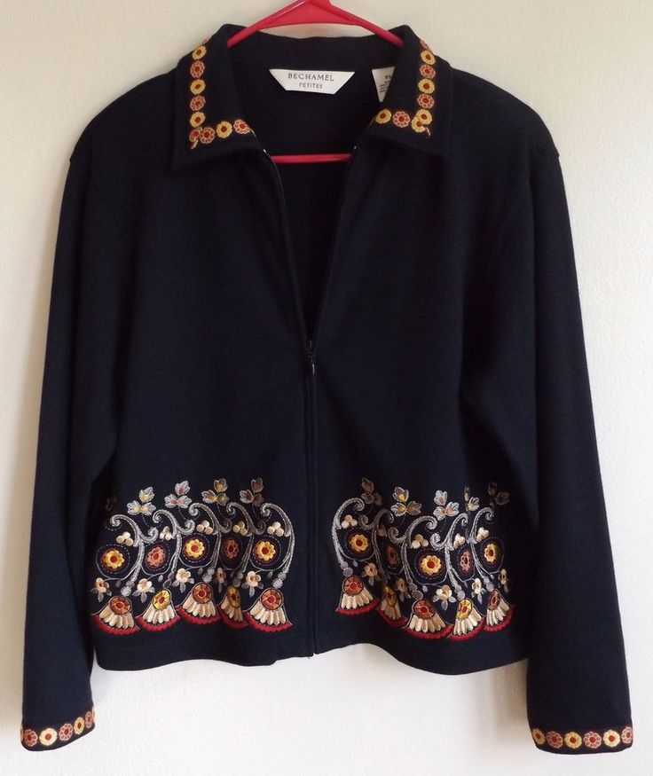 BECHAMEL Women's Petite Small Black Zip Up Embroidery Detail Blazer Jacket #Bechamel #Blazer
