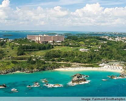 Southampton Princess Resort and hotel-owned beach, Bermuda. Spent a weekend there and I *so* want to go back...