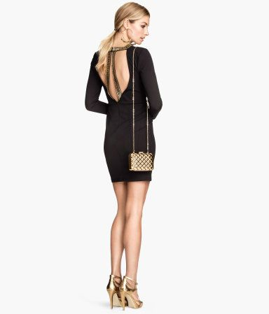 Black jersey dress with beaded back | H&M GB