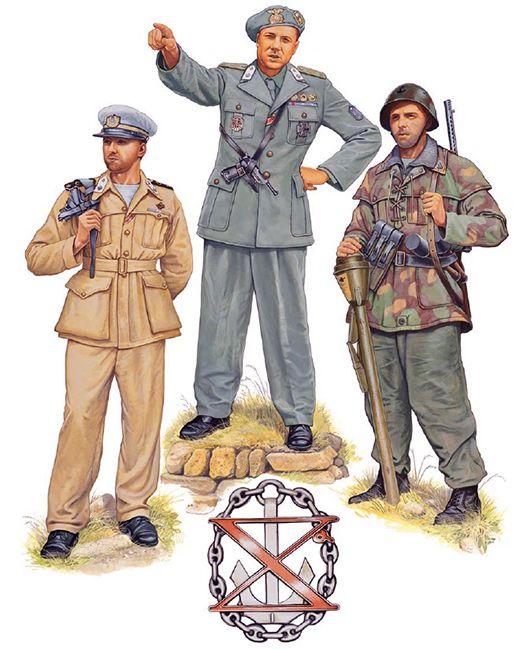 R.S.I - X Flottiglia MAS, 1944-45 - • Guardiamarina, Squadrone MAS, San Remo 1944 • Capitano di fregata Junio Valerio Borghese, 1944 • Marò, Battaglione 'Lupo', Fiume Senio, gennaio 1945