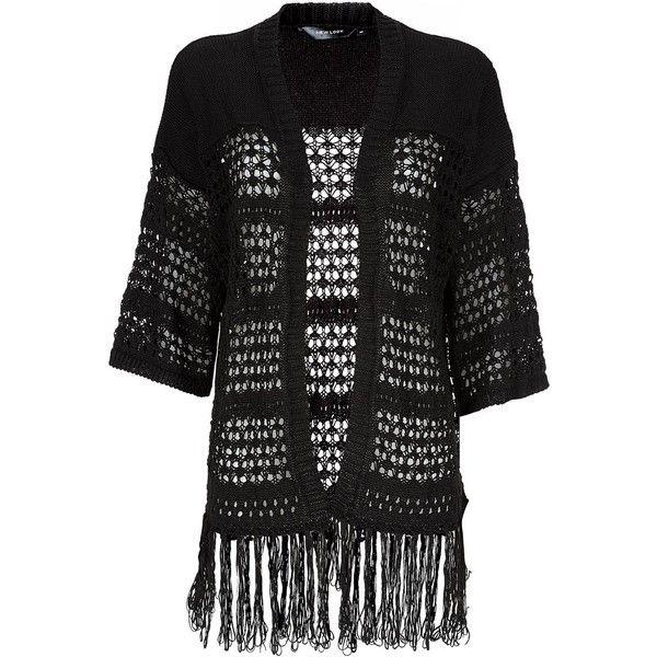 Black Crochet Fringe Hem Kimono Cardigan ($14) ❤ liked on