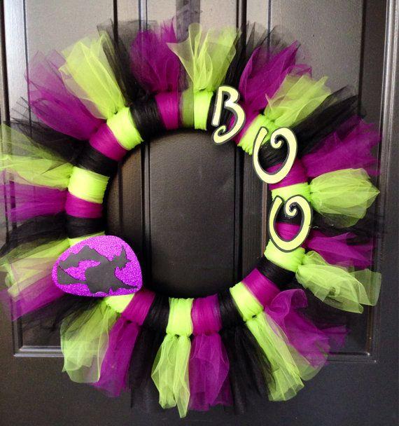Halloween Tulle Wreath by 2ADoorAbleWreaths on Etsy