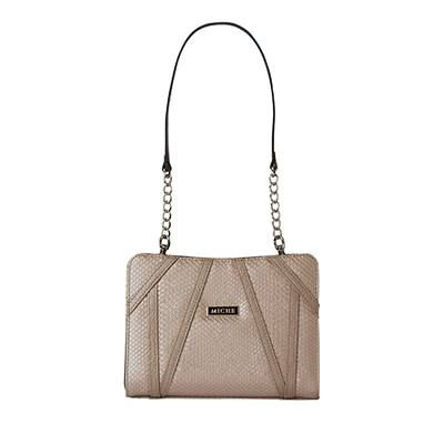 Rebekah Sparkle and shine! The Rebekah for Mini Miche bags will be the focal point of every outfit. Embossed snake faux leather with geometric accents in brilliant metallic champagne features warm rosy undertones. This design is breathtaking and utterly unforgettable.