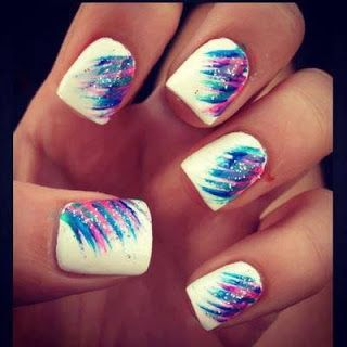 Summer nails pink purple crazy stripes on white nail art