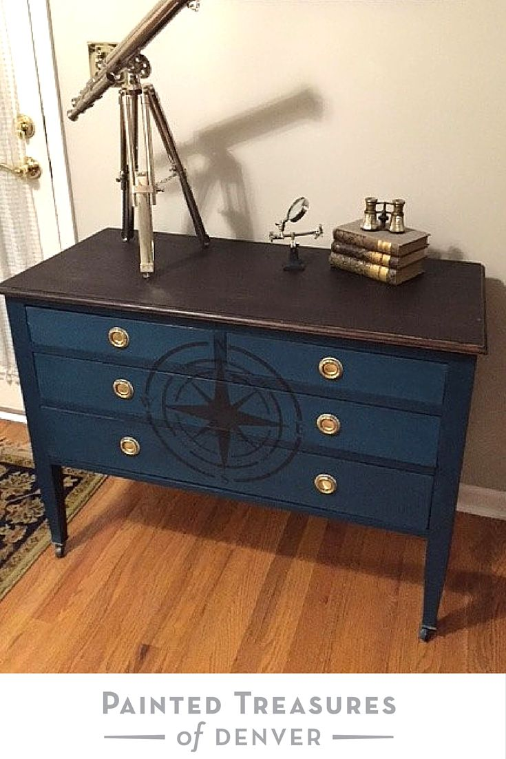 Gorgeous Navy Dark Teal Dresser With Compass Rose How