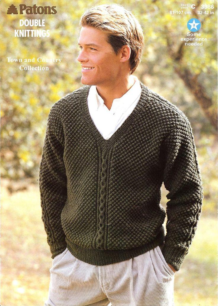 Patons Knitting Pattern 3986, DK, Mans V Neck Sweater