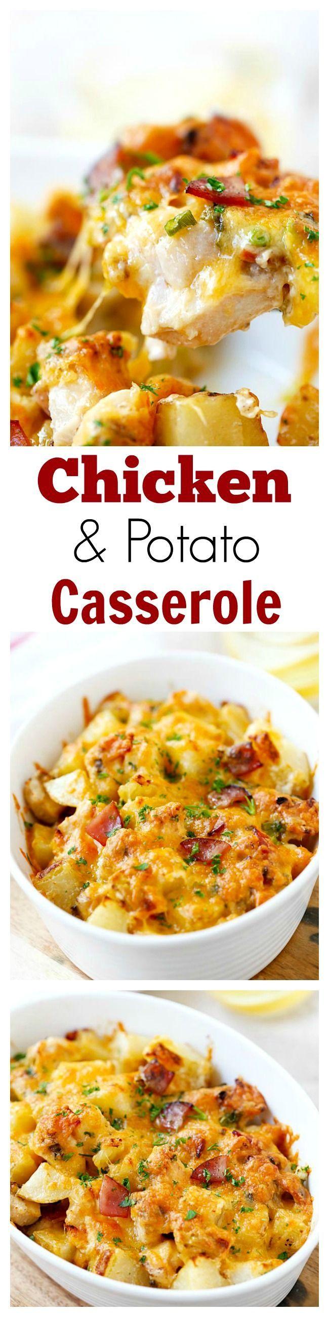 Baked Chicken and Potato Casserole - crazy delicious chicken potato casserole loaded with cheddar cheese, bacon and cream, easy recipe for the family | rasamalaysia.com