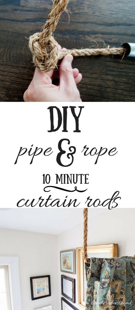 Quick, easy AND inexpensive DIY curtain rod solution! Make these industrial/nautical rods in MINUTES! GREAT TUTORIAL!! heatherednest.com