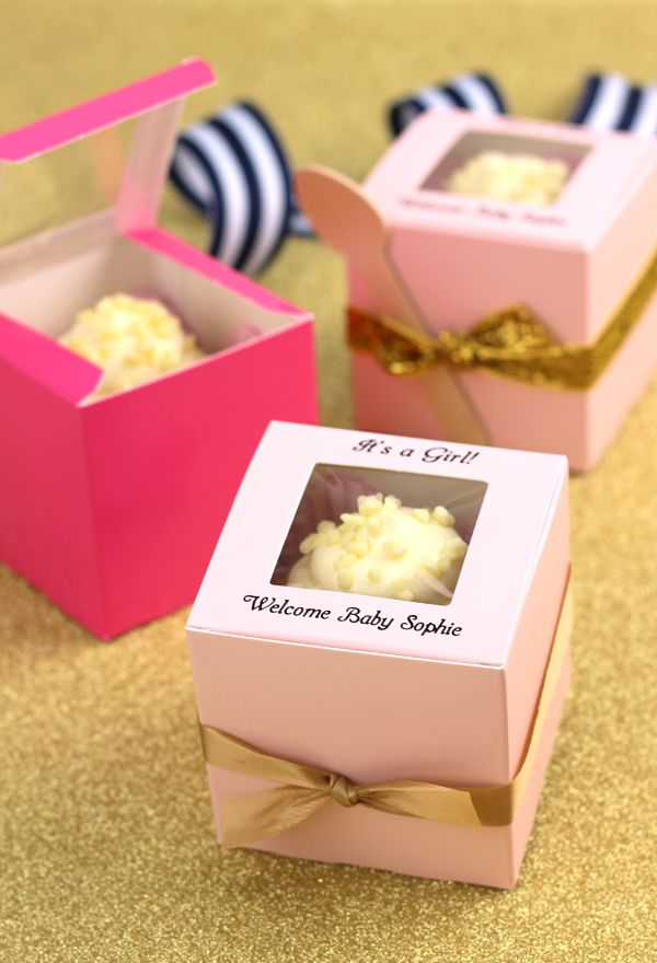 Create a cupcake tower or set a deliciously sweet treat at each guest place setting with these personalized baby shower cupcake favor boxes. Your friends and family will love taking these cute boxes home with them as souvenirs of your shower.  To order, visit http://www.tippytoad.com/personalized-baby-shower-cupcake-boxes.asp