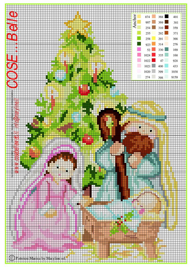 Schema punto croce Natività, Santa famiglia  Schema ricamo punto croceNatività. Cross stitch pattern Christmas nativity, holy family. Punto de cruz navididad.