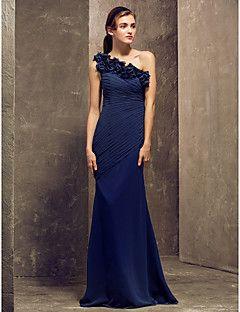 lanting vloer-length georgette bruidsmeisje jurk - dark navy grote maten / petite mantel / kolom een schouder