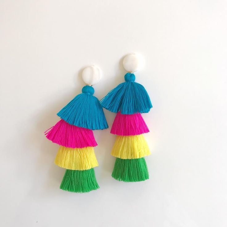 mother of pearl + multi color tassels