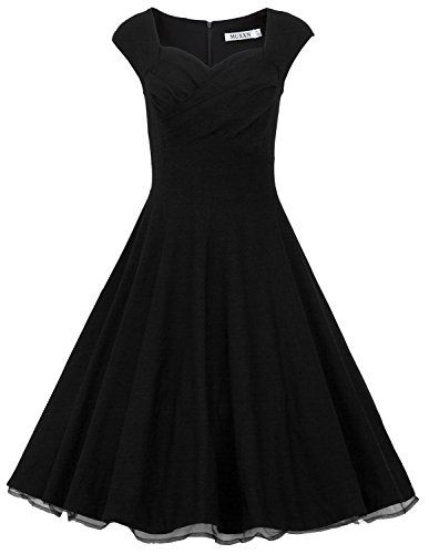 MUXXN Women 1950s Vintage Retro Capshoulder Party Swing Dress (L, Black)