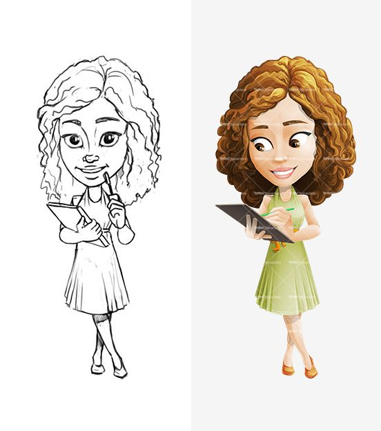 Cartoon Characters With Curly Hair : Curly girl cartoon character set