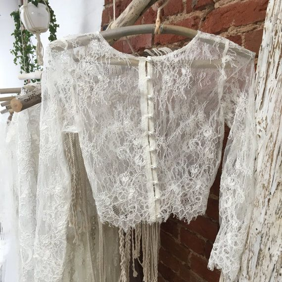 Bridal Top  Wedding Lace Top Ivory Lace Topper  by JurgitaBridal
