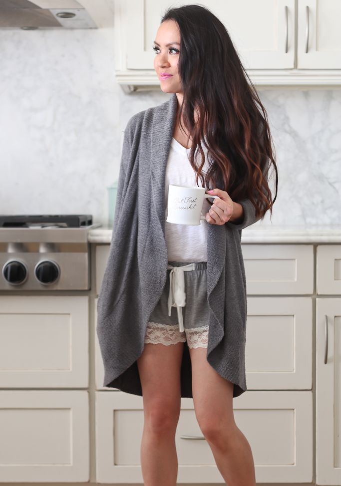 loungwear, sleepwear, pajama shorts, oversized cardigan