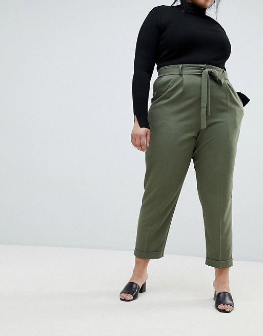 2a3302e1e57b DESIGN Curve woven peg trousers with obi tie   clothes   Peg ...