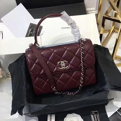 df46a82a9c74 Chanel Lambskin Small Flap Bag with Top Handle Burgundy A92236 ...