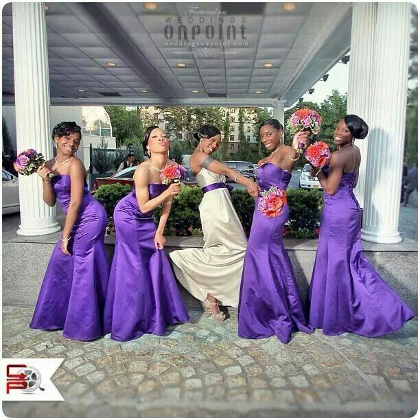 Wow I usually hate purple but I love this color for bridesmaid gowns